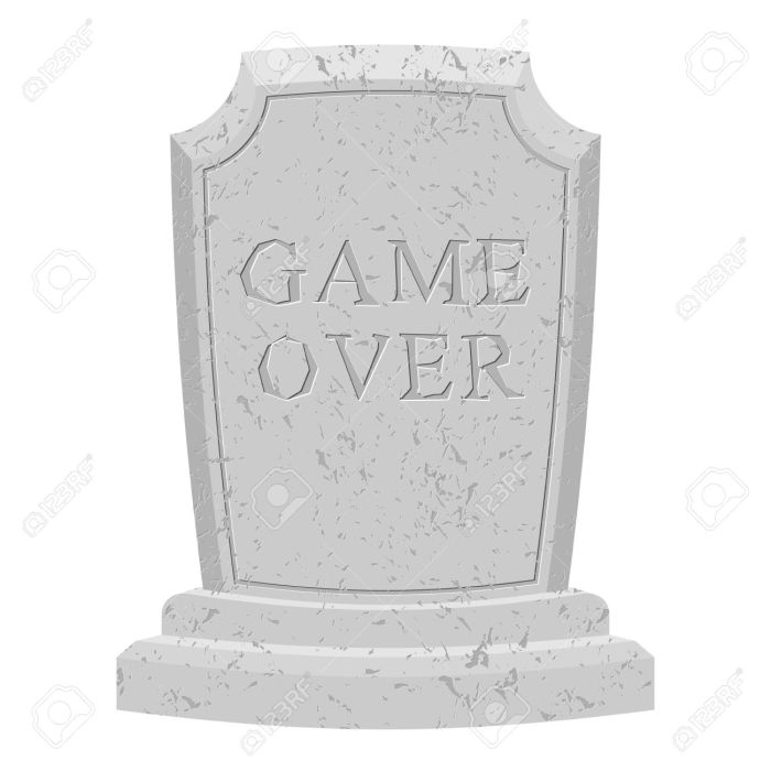Game over tomb. Carved stone end of game. text tombstone. RIP ol